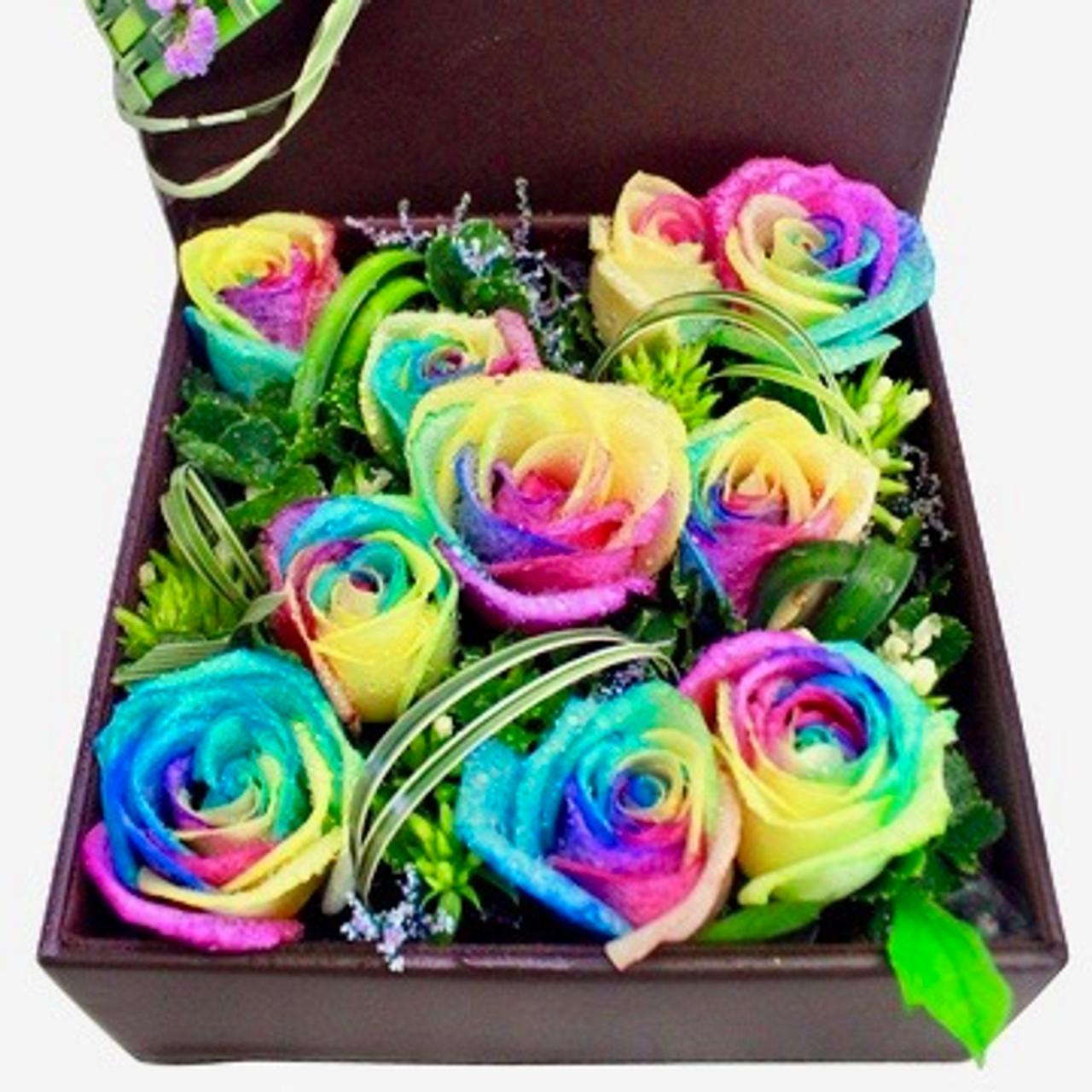 10 Rainbow Ecuadorian Roses Box