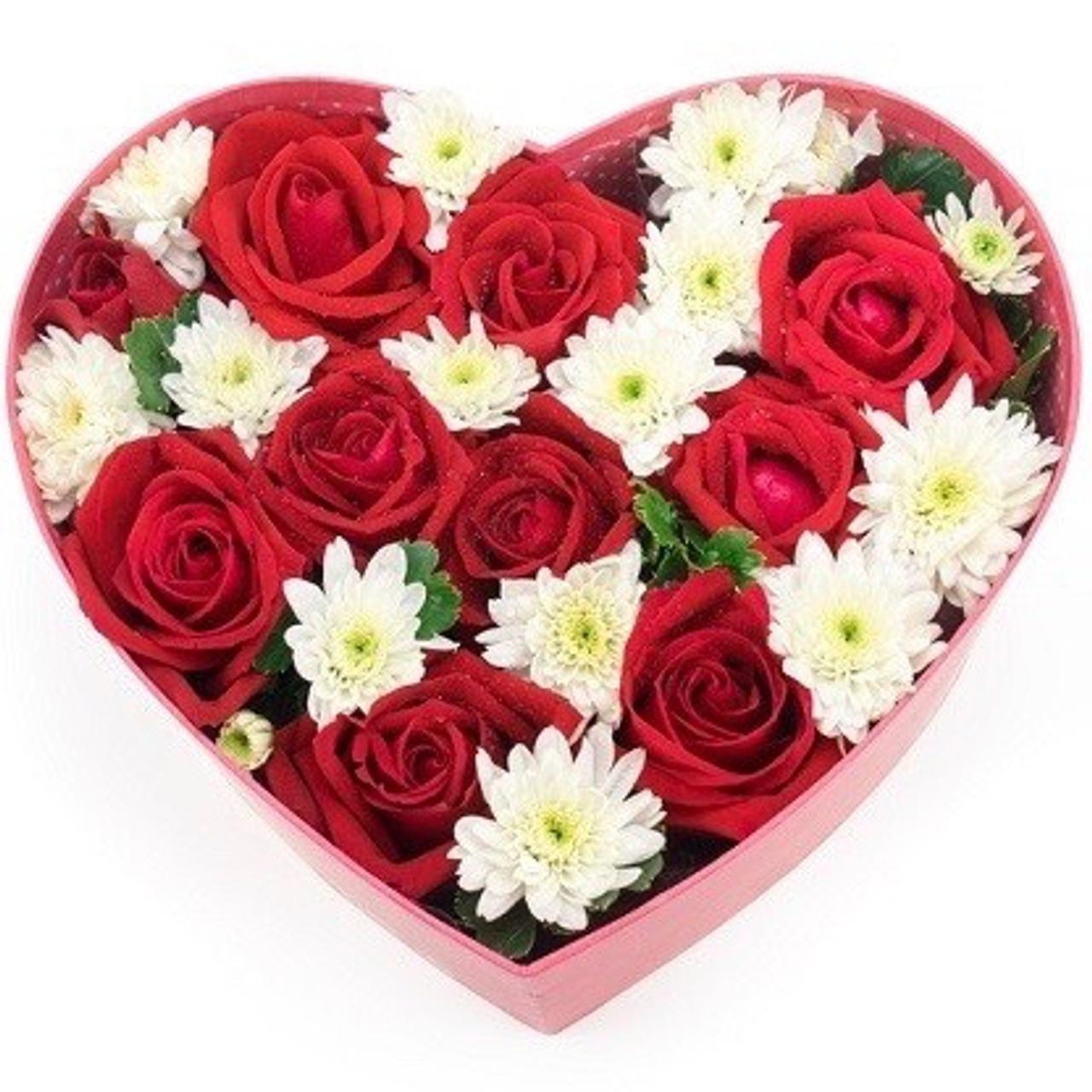 Dozen Red Roses & White Mums Heart Box