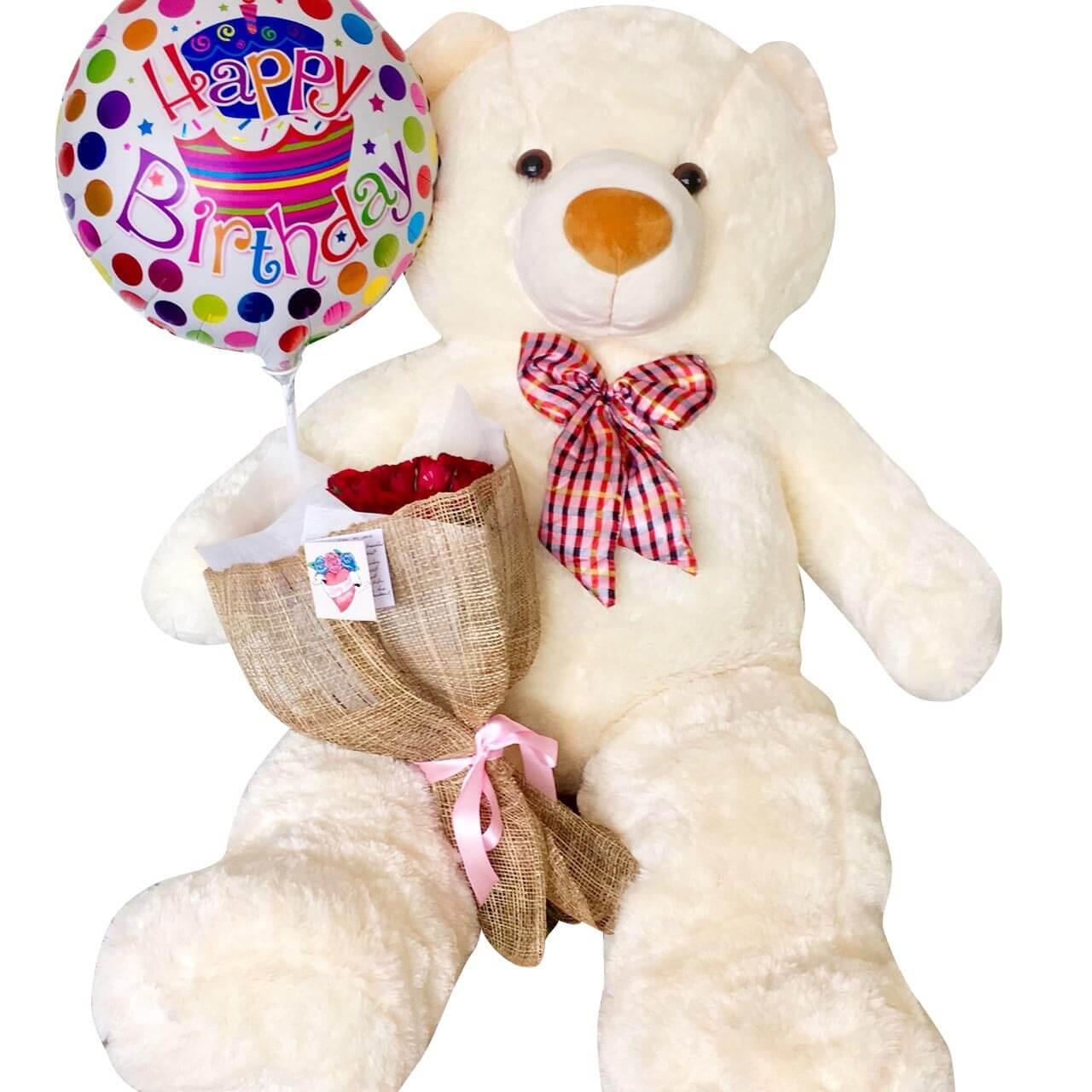 Human size 4'6 ft. cream Happy Birthday Teddy, Roses & Balloon