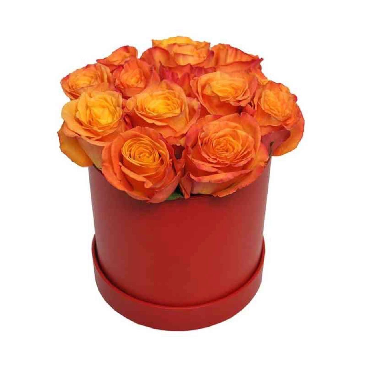 12 Korean Orange Roses Round Box