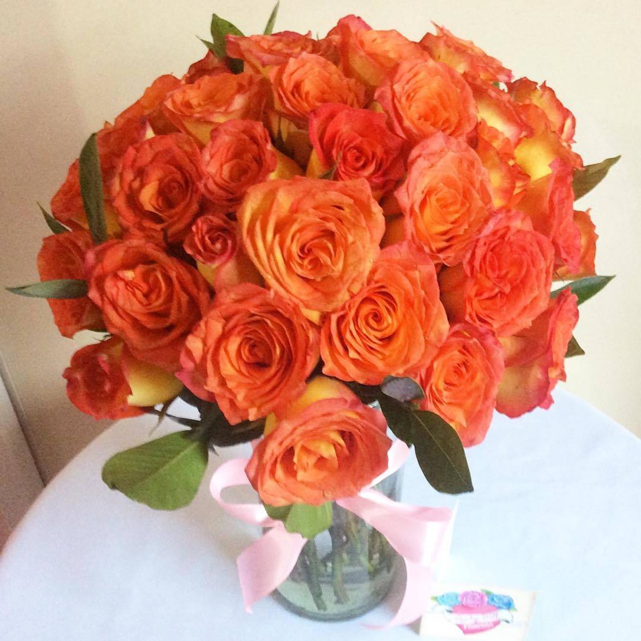 24 Korean Orange Roses Bouquet