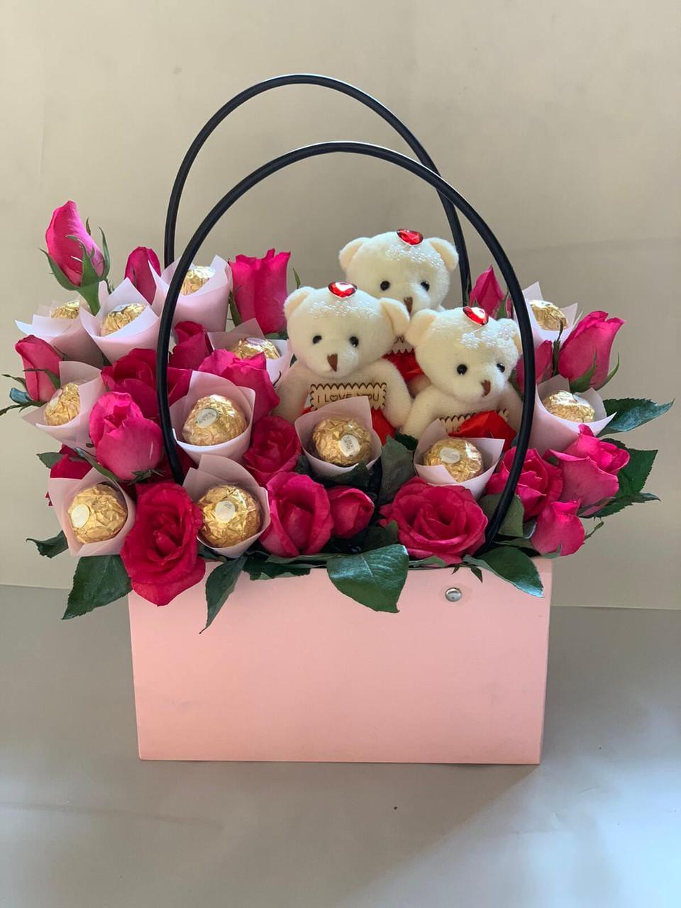 Teddies Love Flower Handbag