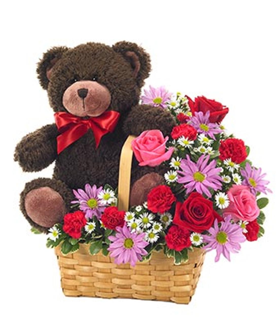 Carnations, Mums, Roses & Teddy Basket