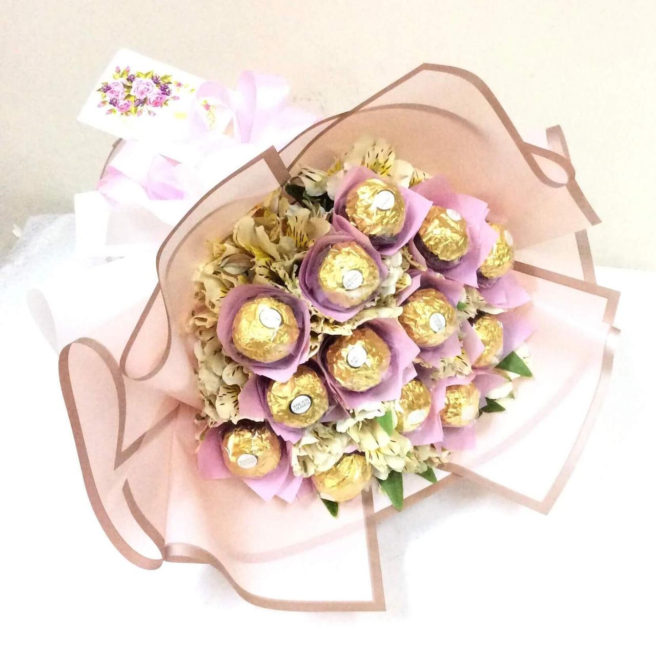 12 Ferrero & Peruvian Lilies Bouquet