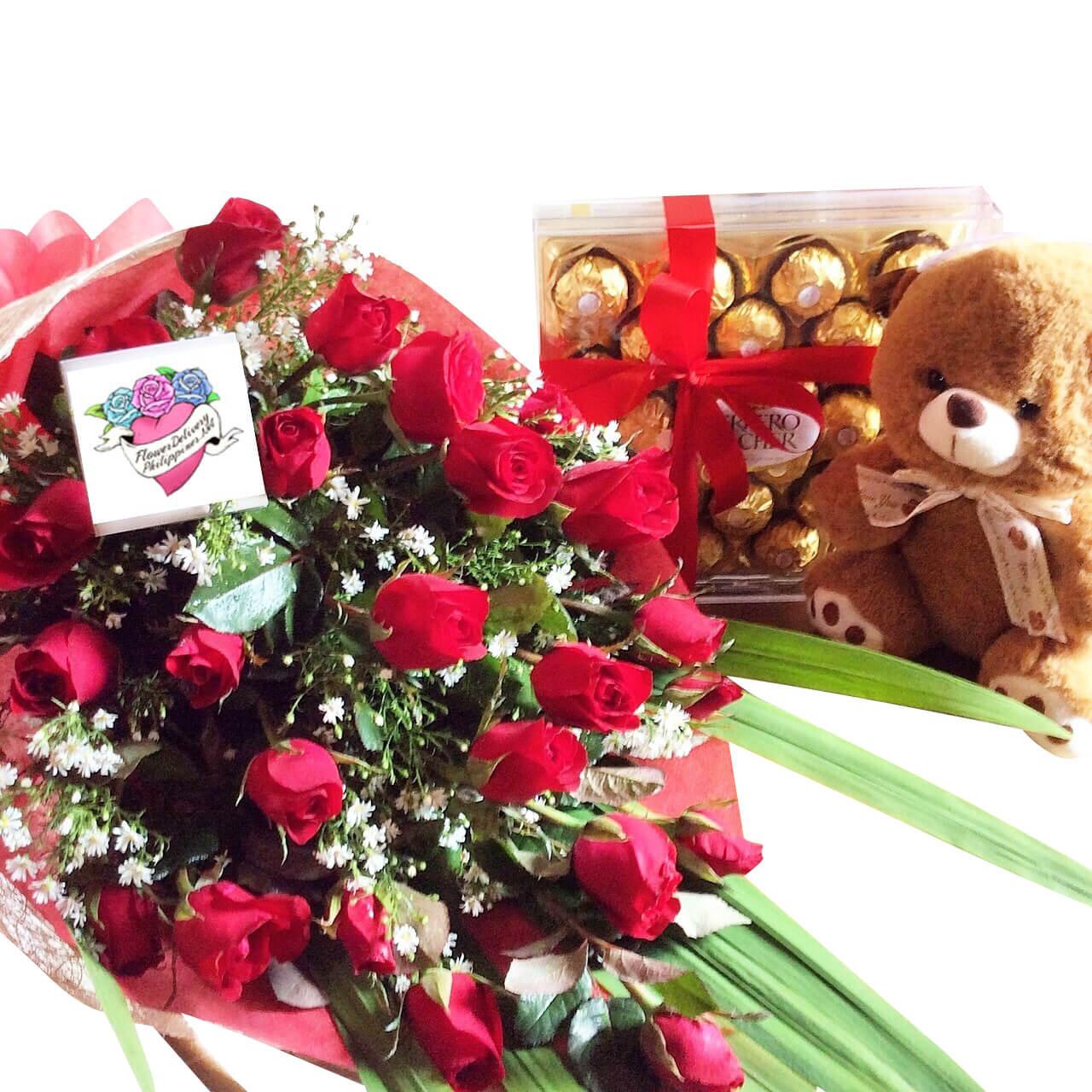 24 Roses, 24 Ferrero Box & Teddy Bear Package