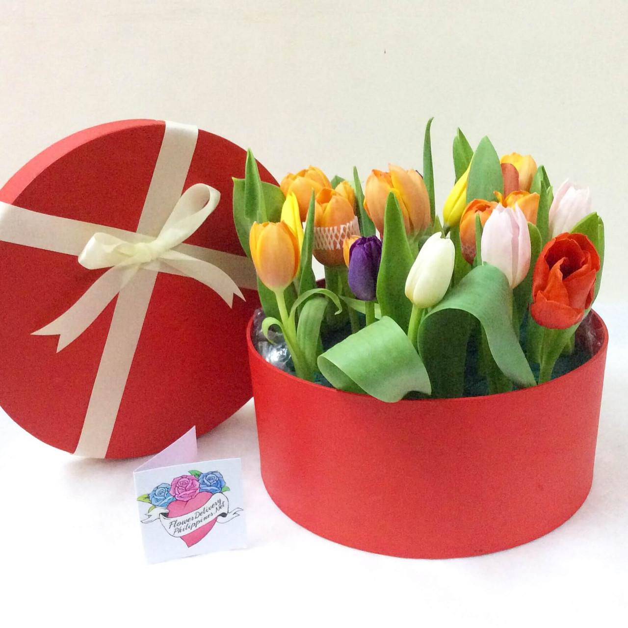 12 Assorted Tulips Round Box