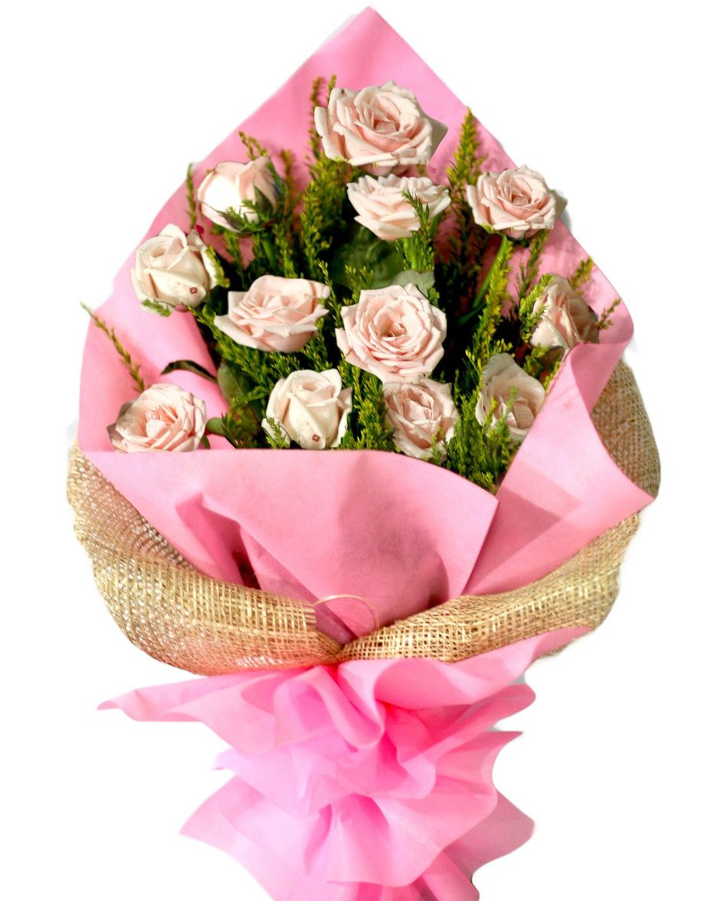 12 Baby Pink Roses Bouquet