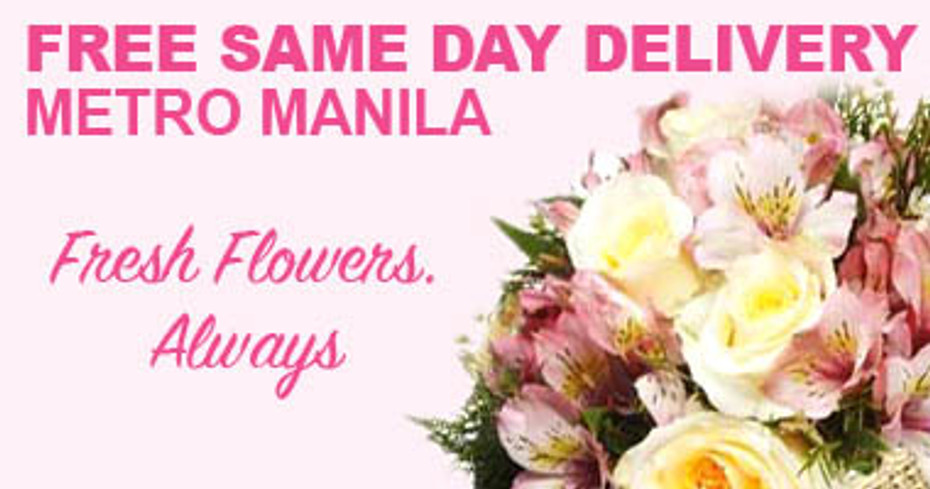 Real Free Same Day Delivery Flowers in all Metro Manila areas