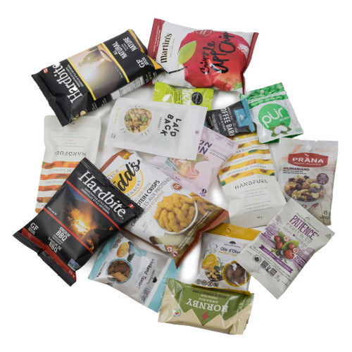 SNACK HEROS all Canadian snack box.  Filled with sweet and savoury individual sized snacks.