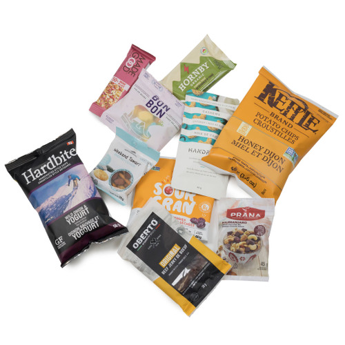SNACK HEROS gluten-free snack box.  Filled with sweet and savoury individual sized snacks.