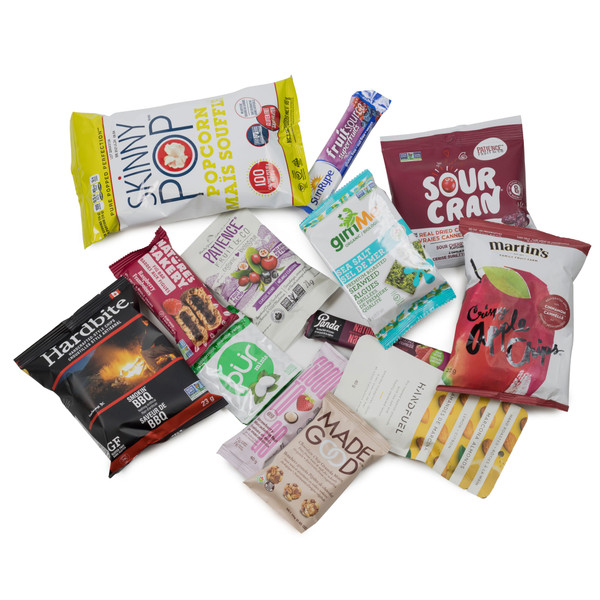 SNACK HEROS vegan  snack box.  Filled with sweet and savoury individual sized snacks.
