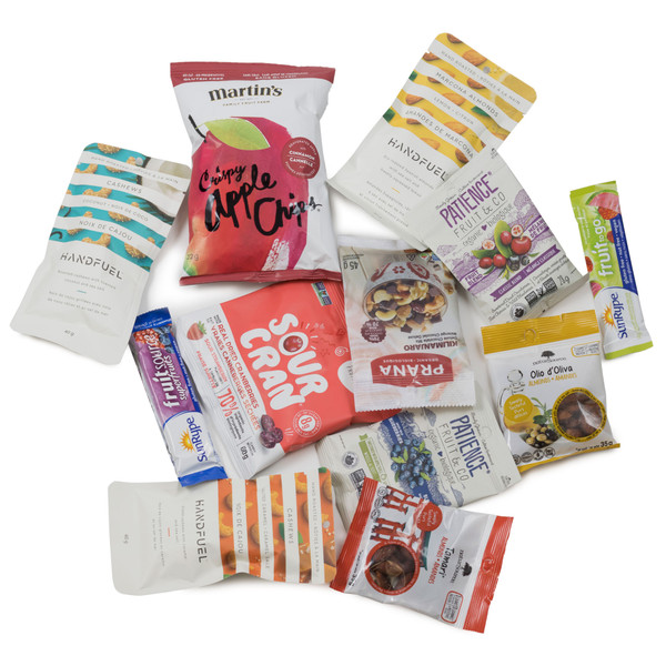 SNACK HEROS nut and fruit snack box.  Filled with sweet and savoury individual sized snacks.