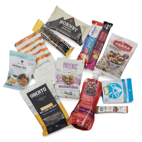 SNACK HEROS outdoor snack box.  Filled with sweet and savoury individual sized snacks.
