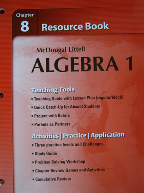Holt McDougal Larson Algebra 1 Resource Book Chapter 8 Algebra 1