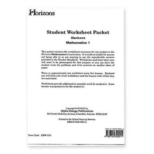 Horizons Math 1st Grade Worksheet Packet