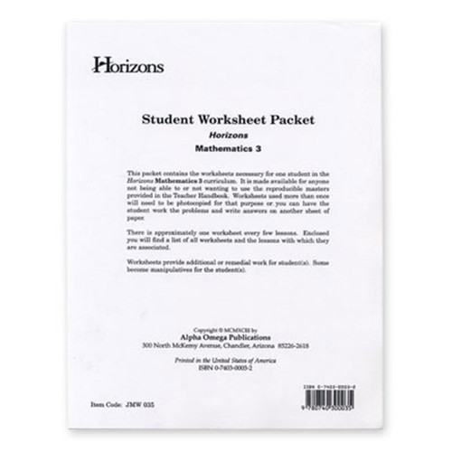 Horizons Math 3rd Grade Worksheet Packet