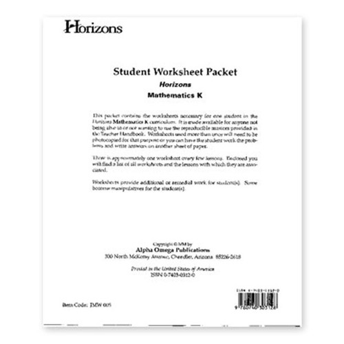 Horizons Math Student Workbook Packet Kindergarten