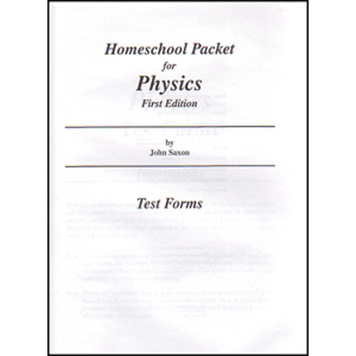 Saxon Physics Homeschool Tests Ony First Edition