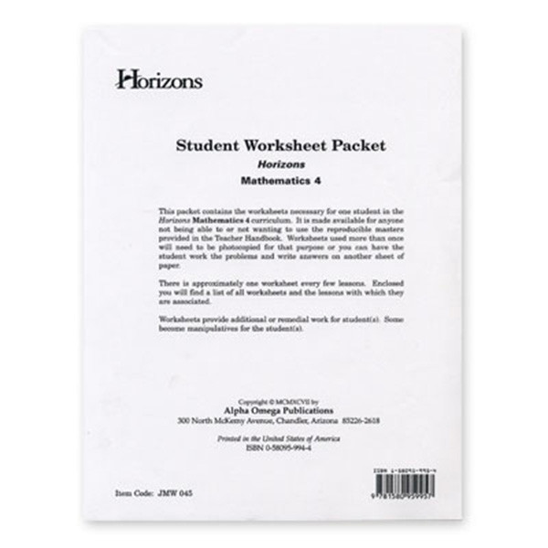 Horizons Math 4th Grade Worksheet Packet