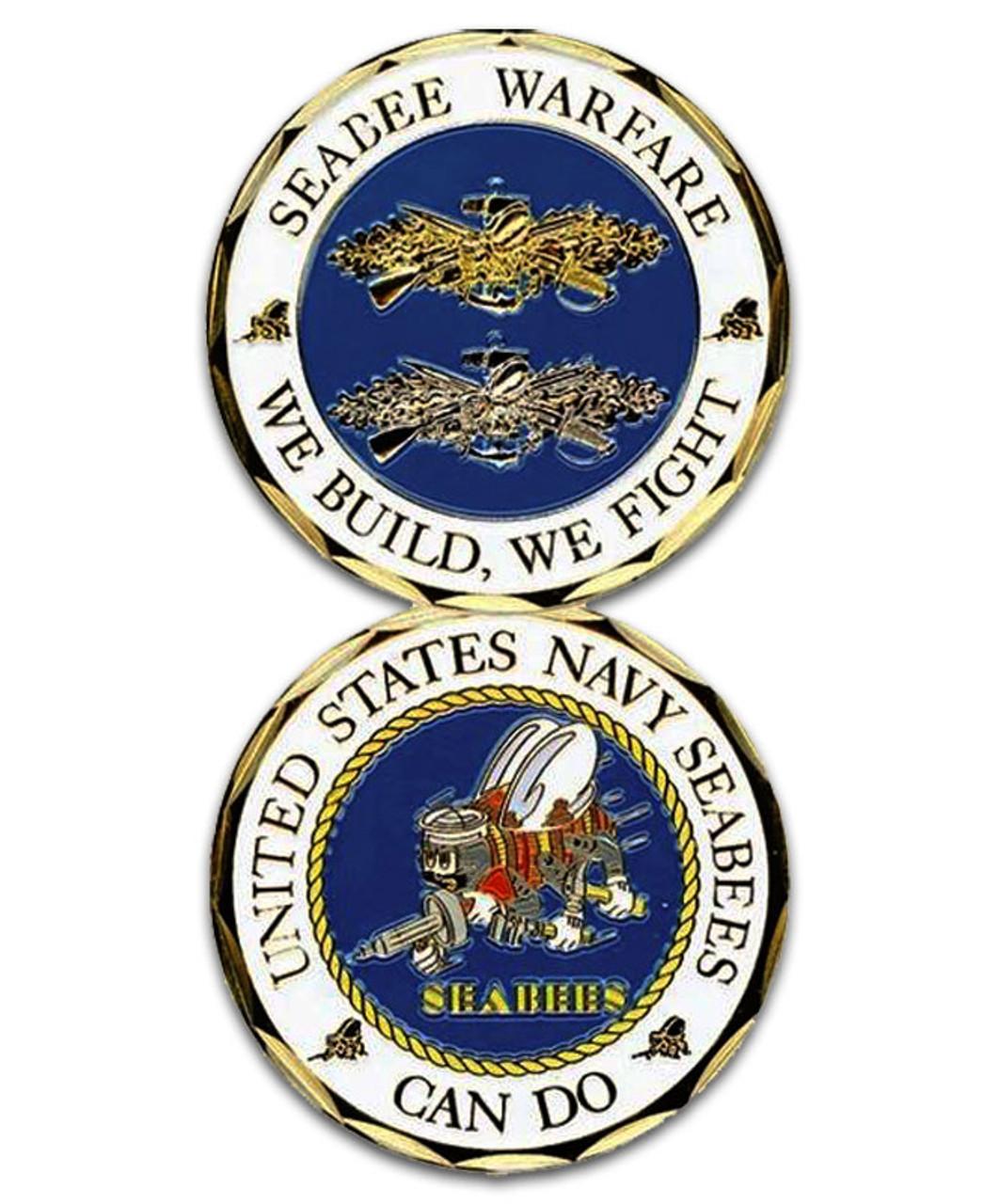 U NAVY REPLICA  SEABEES COMBAT SERVICE BADGE S