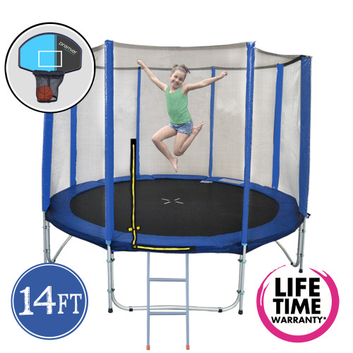 14ft Spring Trampoline with Net and Ladder and Basketball Hoop
