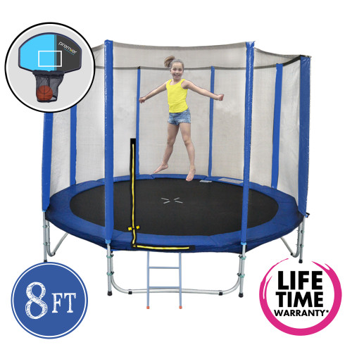 8ft Spring Trampoline with Net, Ladder & Basketball Hoop