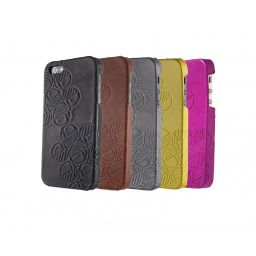"The ""Assured"" Luxury Embossed Slim Profile Genuine British Leather iPhone SE 5 5S Back Cover Cases"