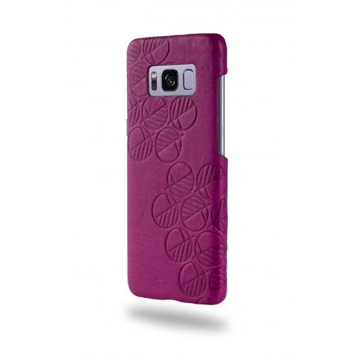 """The """"Assured"""" Luxury Embossed Slim Profile Genuine British Leather Samsung S8 Back Cover Case in Supple Fuchsia Pink"""