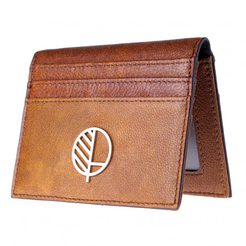 "Compact British Leather Wallet - Durable Rustic Brown Leather – Card Holder Case – ID Window Slot – Unique Men's gift - The ""Active"" for 21st Century Men"