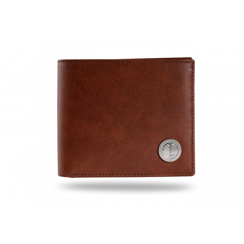 "Luxury Mens Bifold Wallet with Coin Pocket in British Rich Brown Real Leather – the ""Prime"" with our Embossed Pattern on the rear."