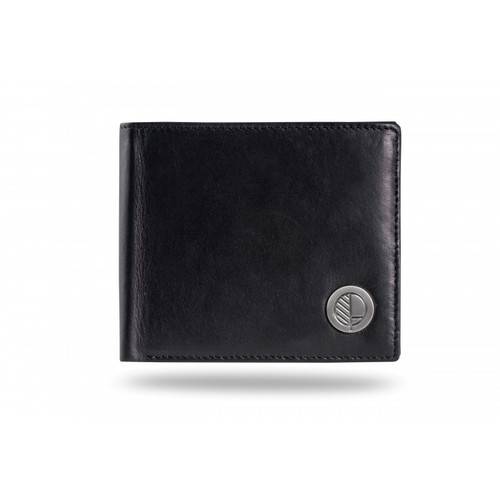 "Drew Lennox's ""Prime"" Luxury Men's Bifold Wallet in Genuine British Leather in Ultra Soft Verglas Black and Purple"