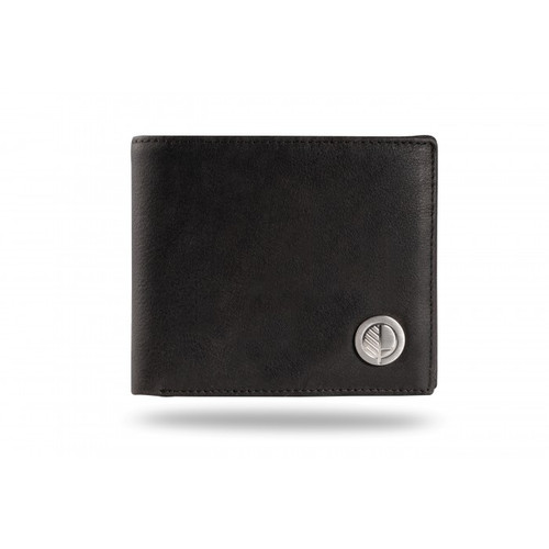 "Drew Lennox's Luxury Men's Bifold Wallet in Genuine British Charcoal Black Leather – the ""Prime"" with the Drew Lennox embossed on the back."