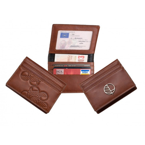 Mens Compact Wallet in Smooth Rich Brown British Cowhide Leather - 9 Card Slots - 2 Slip Pockets - ID Window