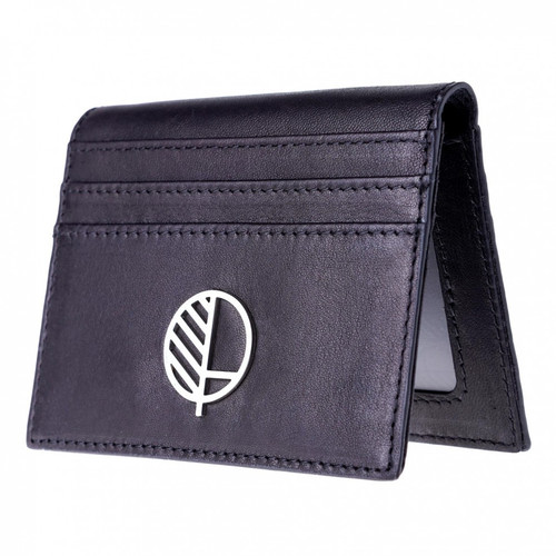 "The ""Active"" 21st Century Combined Compact Wallet, ID Holder and Credit Card Holder & Compact Wallet in Soft Verglas Black Great British Leather"
