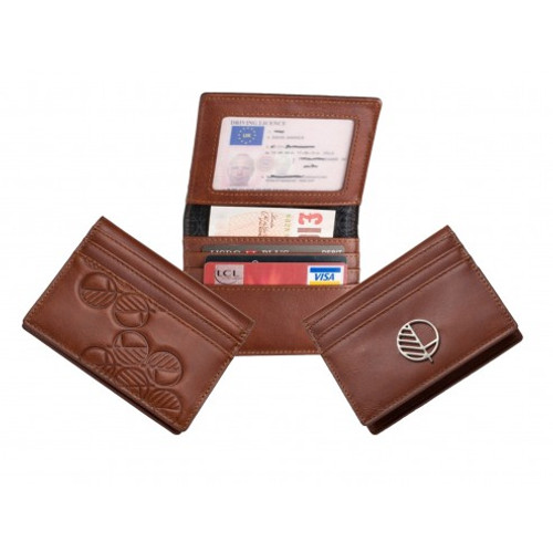 "Slim Compact Wallet and Card Holder with ID Window in Patterned Rich Brown British Leather - The ""Active"" for 21st Century Men"