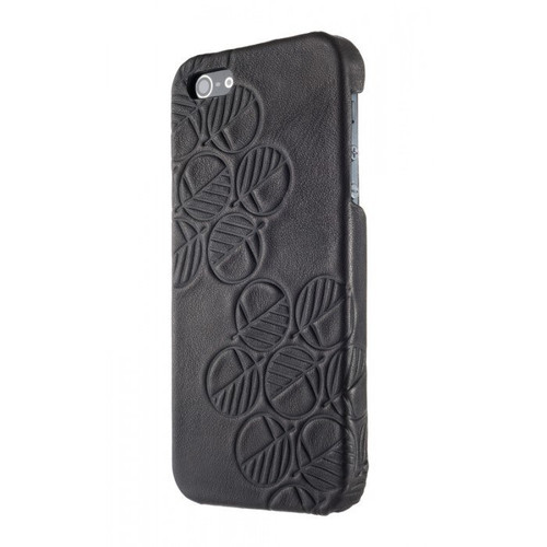 "The ""Assured"" Luxury Embossed Slim Profile Genuine British Leather iPhone SE, 5S and 5 Back Cover Case in Bosco Charcoal Black"