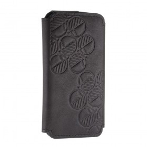 """The """"Always"""" Sumptuous British Genuine Leather iPhone SE 5 5S Wallet Case & Folio in Embossed Bosco Charcoal Black"""