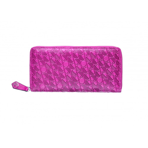 "Our ""Go"" Fuchsia Pink British Leather Zip Around Purse and Womens Wallet Embossed with our distinctive pattern"
