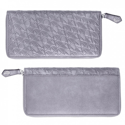 Pearlised Silver Grey English Leather Large Zip Around Purse and Womens Wallet