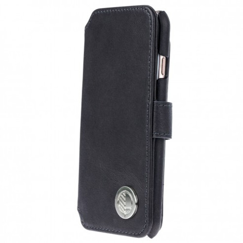 Class Leading Premium British Real Leather iPhone 7 Wallet Case in Charcoal Black