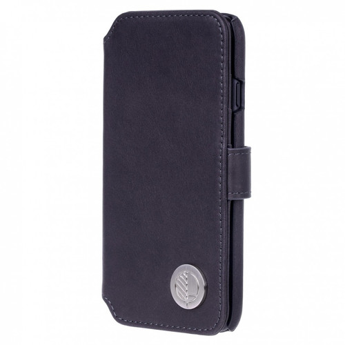 Class Leading Premium British Real Leather iPhone 8 Wallet Case in Charcoal Black