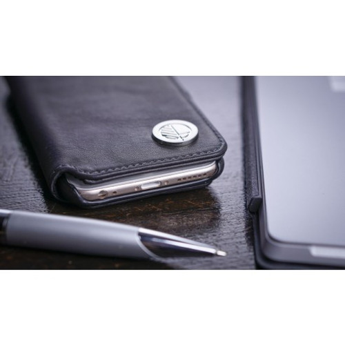 """Ultra-Soft Verglas Black Leather Wallet Case and Card holder for the Apple iPhone SE 5 5S. We think that its the """"Answer"""" you've been looking for"""