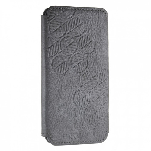 "The ""Always"" Sumptuous British Genuine Leather iPhone 6 6S Wallet Case & Folio in Embossed Pearlised Scorpion Rhino Silver Grey"