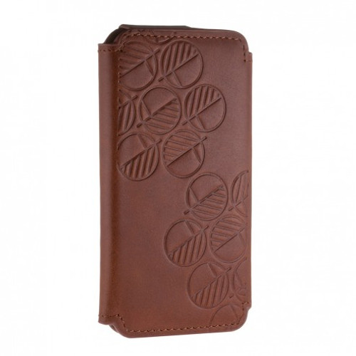 """The """"Always"""" Sumptuous British Genuine Leather iPhone 7 Wallet Case & Folio in Richly Embossed Caramelo Brown"""