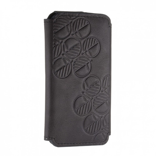 """The """"Always"""" Sumptuous British Genuine Leather iPhone 7 Wallet Case and Folio in Richly Embossed Bosco Charcoal Black"""