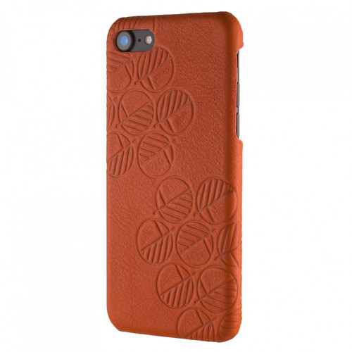 "Limited Edition! The ""Assured"" Luxury Embossed Slim Profile Genuine British Leather iPhone 8 Back Cover Case in Monarch Orange"