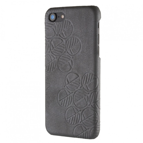 """The """"Assured"""" Luxury Embossed Slim Profile Genuine British Leather iPhone 7 Back Cover Case in Pearlized Scorpion Rhino Silver Grey"""