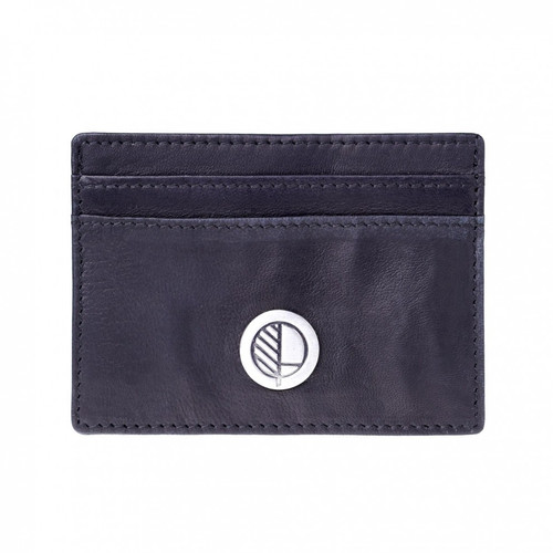 Leather Card Holder in Supple Verglas Black - Premium Real British Leather - Credit Card Wallet by Drew Lennox