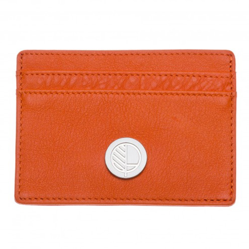 "Limited Edition! Drew Lennox's Womens Credit Card Holder in English Muffler Sanguine Orange Leather – the ""Poised"""