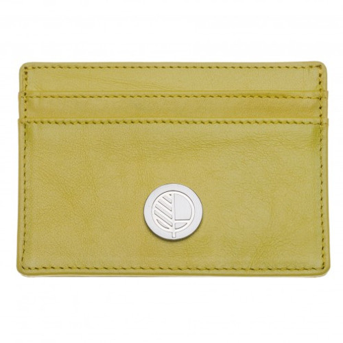 "Limited Edition! Lime Yellow British Leather Credit Card Holder - 4 Card Slot Case - Concealed Pocket - Fine Grain Leather - the ""Poised"""